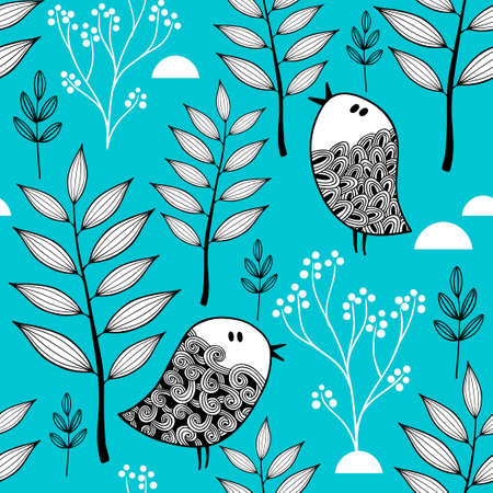 Winter in the forest vector illustration. Seamless pattern with cold background and doodle birds.