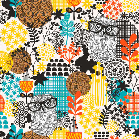 Owls on the field seamless pattern. Vector endless background. Illustration