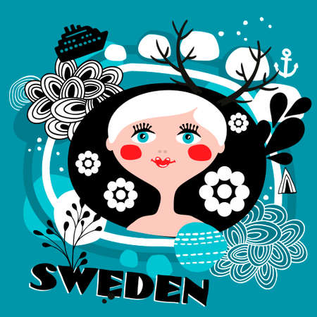 The portrait of Swedish girl. Blond hear young woman. Vector illustration.