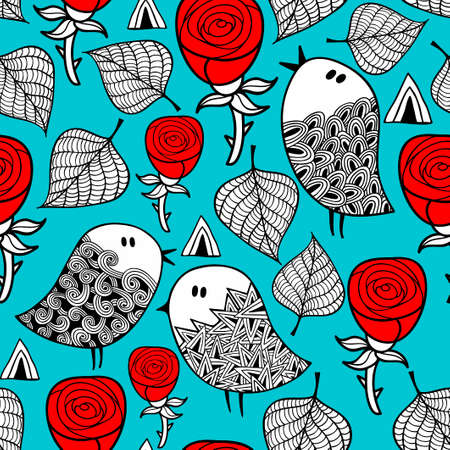 starling: Red roses and romantic birds seamless pattern. Vector doodle illustration. Illustration