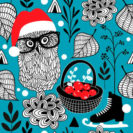 red berries: Seamless background with Christmas owls and red berries. Vector pattern.