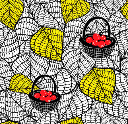Endless doodle background with autumn leaves and baskets of fresh berries. Vector seamless wallpaper. Illustration