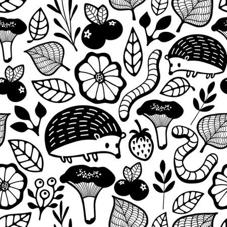 forest animals: Seamless pattern with small forest animals and insect. Vector endless background for coloring. Illustration