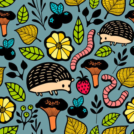 country flowers: Endless background with floral elements and wild animals. Seamless pattern in vector. Illustration
