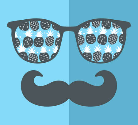 retro glasses: Abstract face of man in glasses. Vector image in retro style. Stock Photo