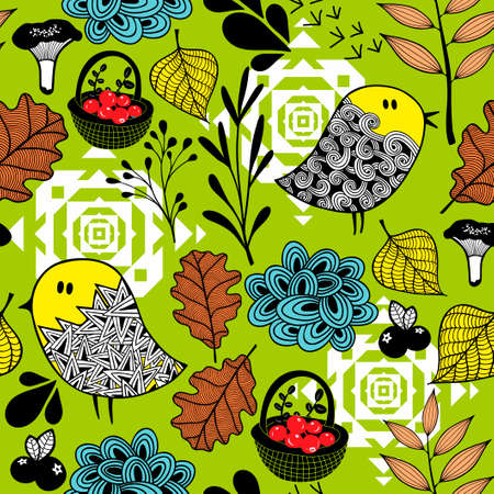 Seamless background of doodle birds and nature elements.