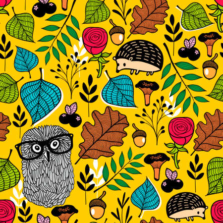 flora fauna: Endless vector pattern with forest flora and fauna.