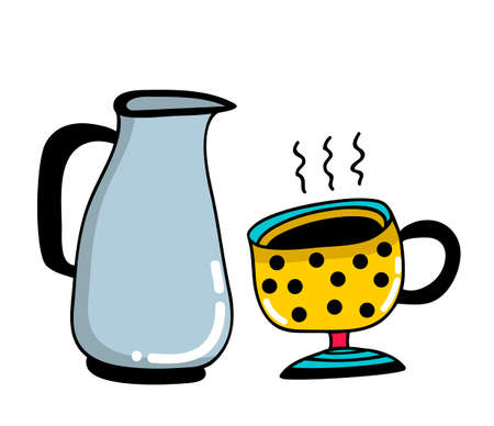 Morning set with cup and milk jug. Illustration