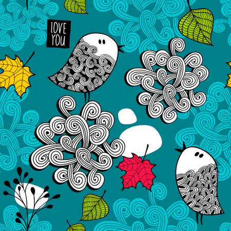 bird nightingale: Endless illustration with autumn leaves and cute little birds.
