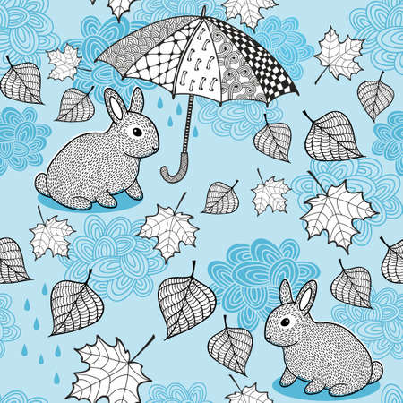 fondo para bebe: Seamless pattern with autumn wind, doodle umbrella and cute little rabbits. Vector endless background for babies or adult.