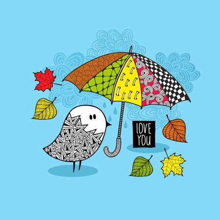 bird nightingale: Cute doodle bird under the colorful umbrella. Illustration