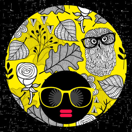 Abstract portrait of dark skin woman in hipster sunglasses. Illustration