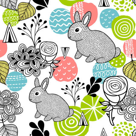 roses garden: Seamless pattern with spring time rabbits.