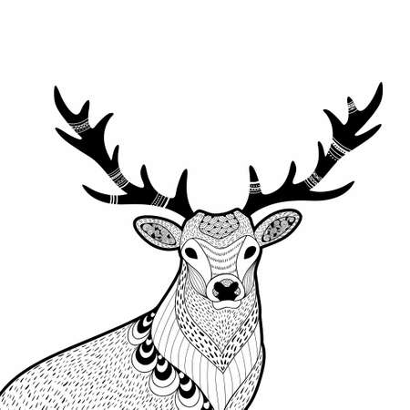 Creative doodle illustration of wild deer, hand drawn for the coloring book.