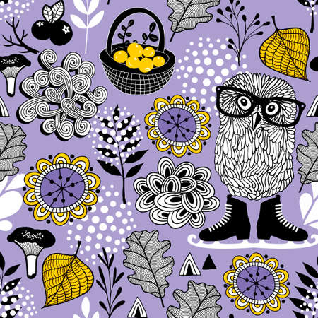 Seamless pattern of forest life.