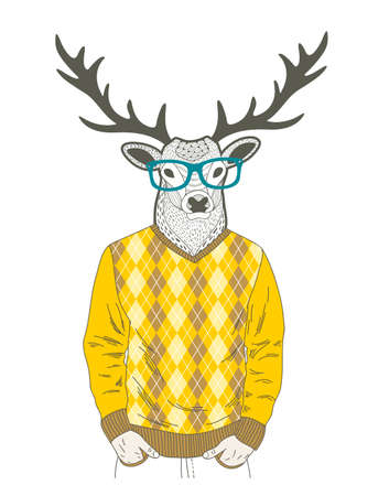 Doodle dressed up deer in hipster style. Illustration