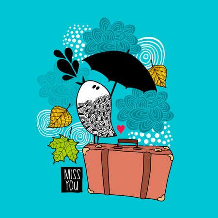 Sad bird on the old bag singing of love.