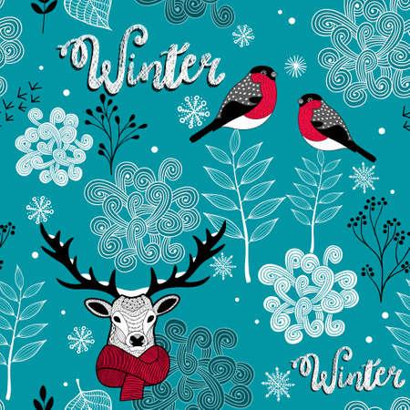 사슴, 새와 겨울 자연 끝없는 배경. 일러스트