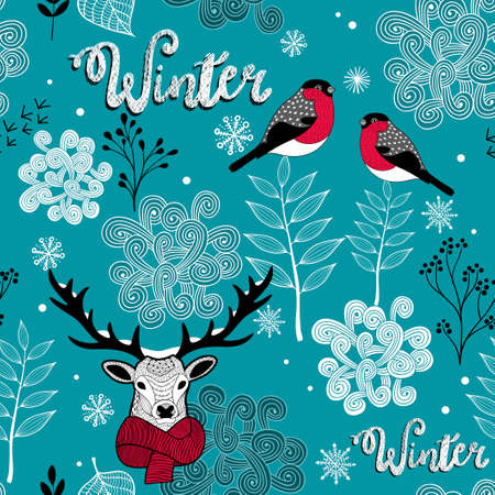 Endless background with deer, birds and winter nature.