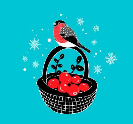 alimentos congelados: Cesta de dibujos animados con bayas rojas un bullfinch de invierno en él. Vector ilustración dibujada a mano.
