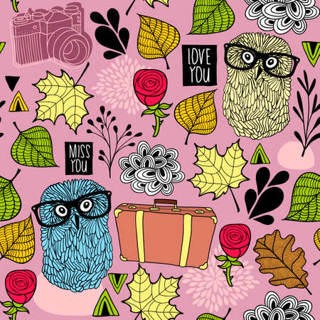 oink: Seamless pattern with hipster owl friends and romantic roses. Vector wallpaper for tourists.