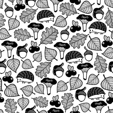 Seamless pattern with forest flora and fauna. Illustration
