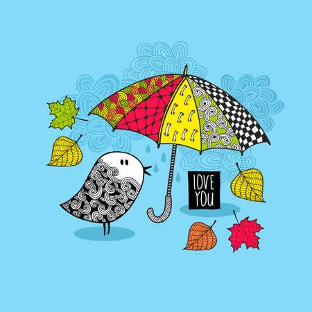 다채로운 밝은 우산 아래 낙서 조류. 벡터 가을 패턴. 일러스트