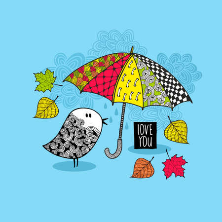 Doodle bird under the colorful bright umbrella. Vector autumn pattern.