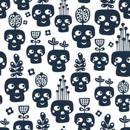 Seamless pattern with monochrome skulls with plants. Иллюстрация