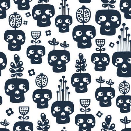 Seamless pattern with monochrome skulls with plants. Illustration