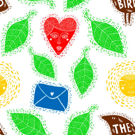 Seamless pattern with decorative elements. Illustration