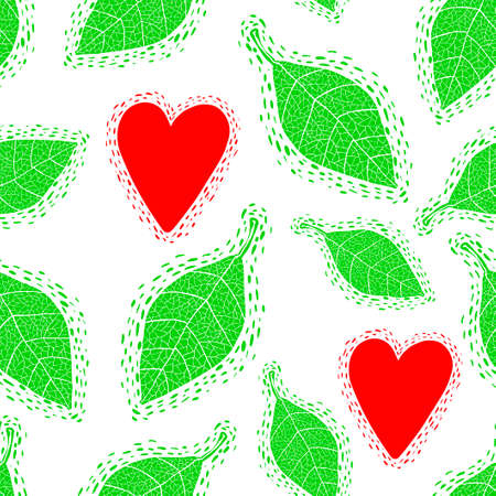 Seamless pattern with decorative spring leaves and young hearts. Illustration