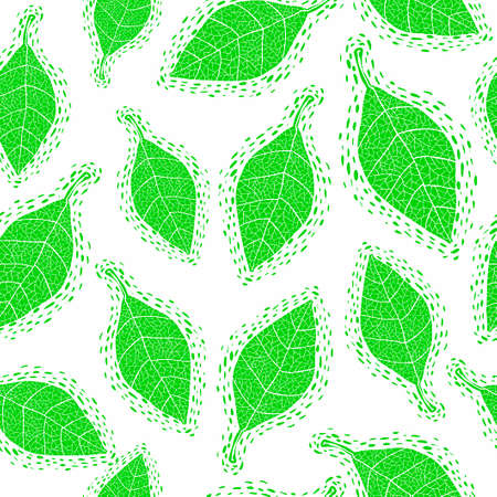 Seamless pattern with cute leaves. Illustration