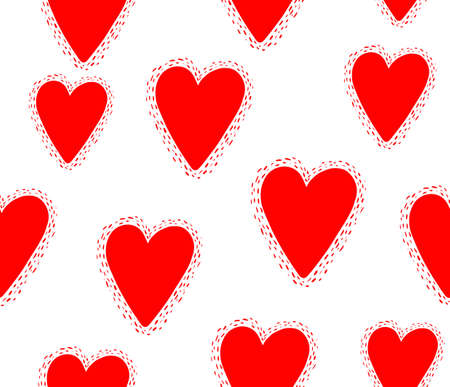 Seamless pattern with decorative hearts..