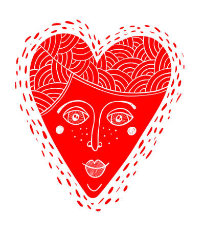 Decorative cartoon heart with the woman face.