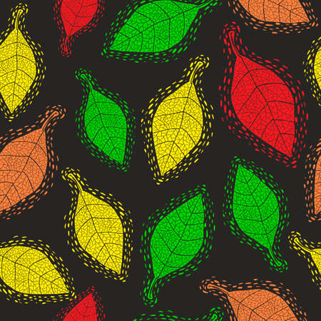 Seamless pattern with decorative autumn leaves.