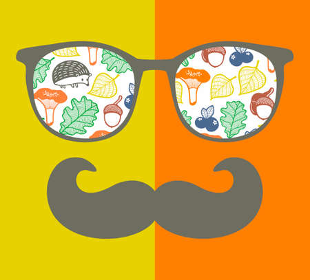 reflection in mirror: Abstract portrait of retro man in glasses. Illustration
