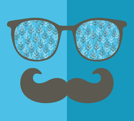 reflection in mirror: Abstract portrait of retro man in glasses. Vector face illustration. Stock Photo