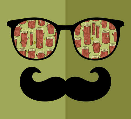 Abstract portrait of retro man in glasses. Illustration