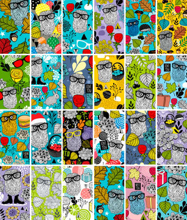 Gran conjunto de tarjetas de visita verticales con imagen floral y lindos búhos.