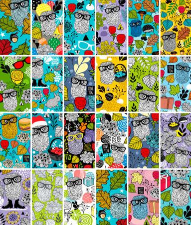 Grote set verticale visitekaartjes met bloemenbeeld en schattige uilen. Stock Illustratie