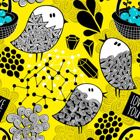 Creative yellow background with doodle birds, crystals and design elements.