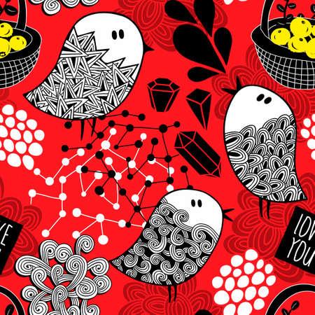 創造的な赤の背景落書き鳥、結晶やデザイン要素に。