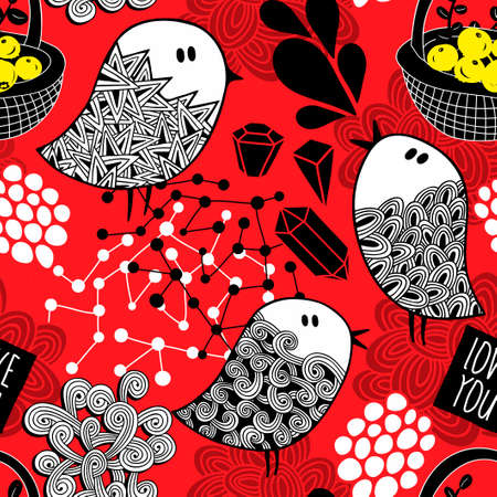 Creative red background with doodle birds, crystals and design elements.