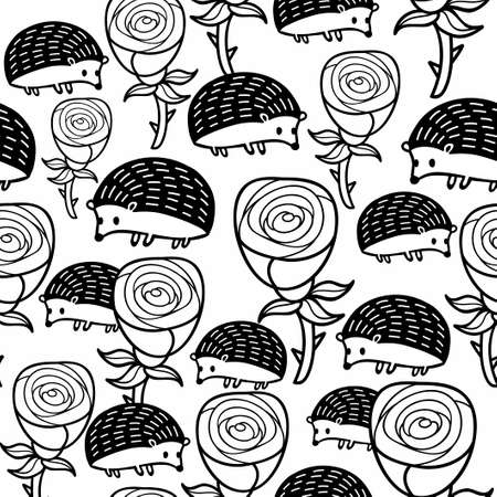 Monochrome seamless pattern with roses and hedgehogs.