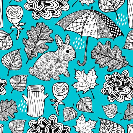 かわいいウサギと落書き傘の創造的な黒と白のシームレスなパターン。