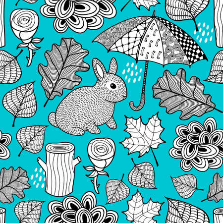 Creative black and white seamless pattern with cute rabbit and doodle umbrella.