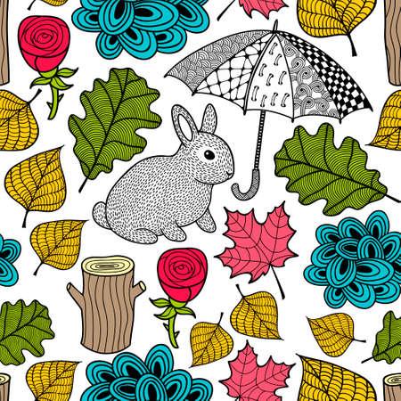 かわいいウサギと落書き傘と創造的なカラフルなシームレス パターン。ベクトルの図。紅葉と花の背景。