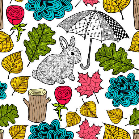 Creative colorful seamless pattern with cute rabbit and doodle umbrella. Vector illustration. Floral background with autumn leaves. Ilustração