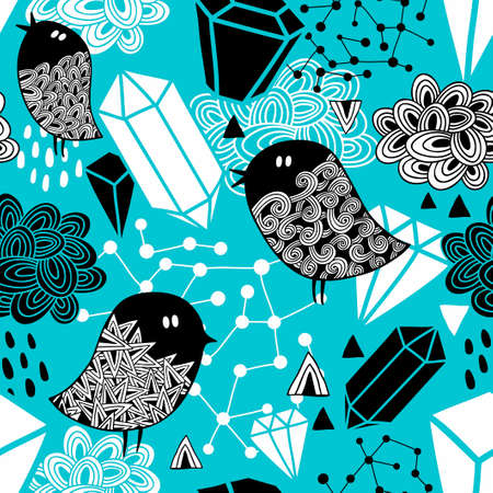 Seamless pattern with strange birds and design elements. Vector background in hand drawn style. Ilustração